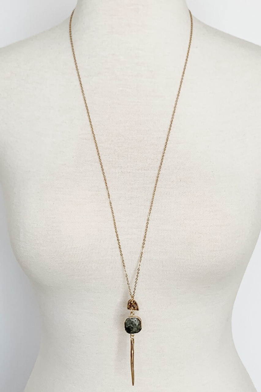 Gold Metal and Grey square stone pendant necklace, Nickle and lead free.