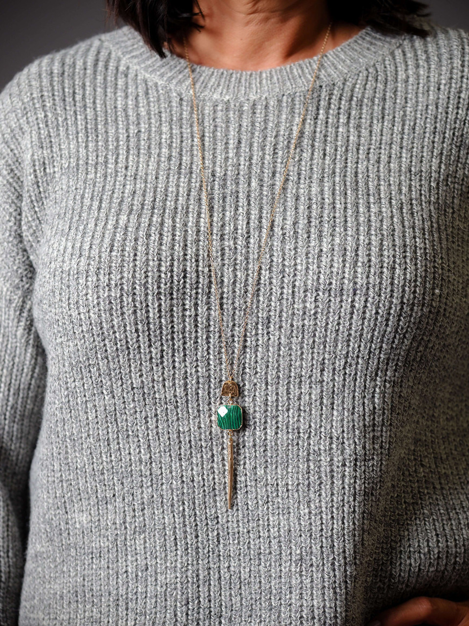 Gold Metal and Malachite Green square stone pendant necklace, Nickle and lead free.