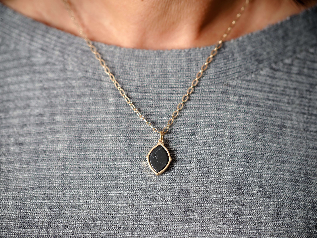 Mini Black Marbled stone pendant gold necklace, Nickle and lead free.