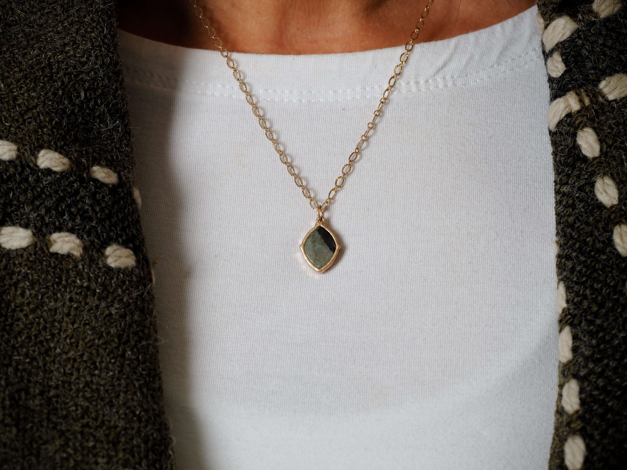 Mini Grey stone pendant gold necklace, Nickle and lead free.