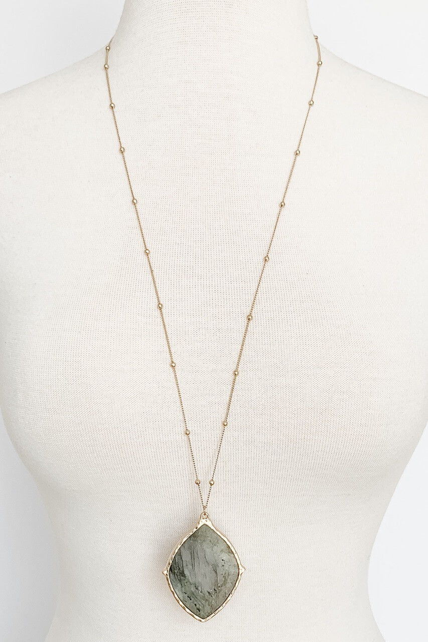 Grey Stone pendant gold necklace, Nickle and lead free.
