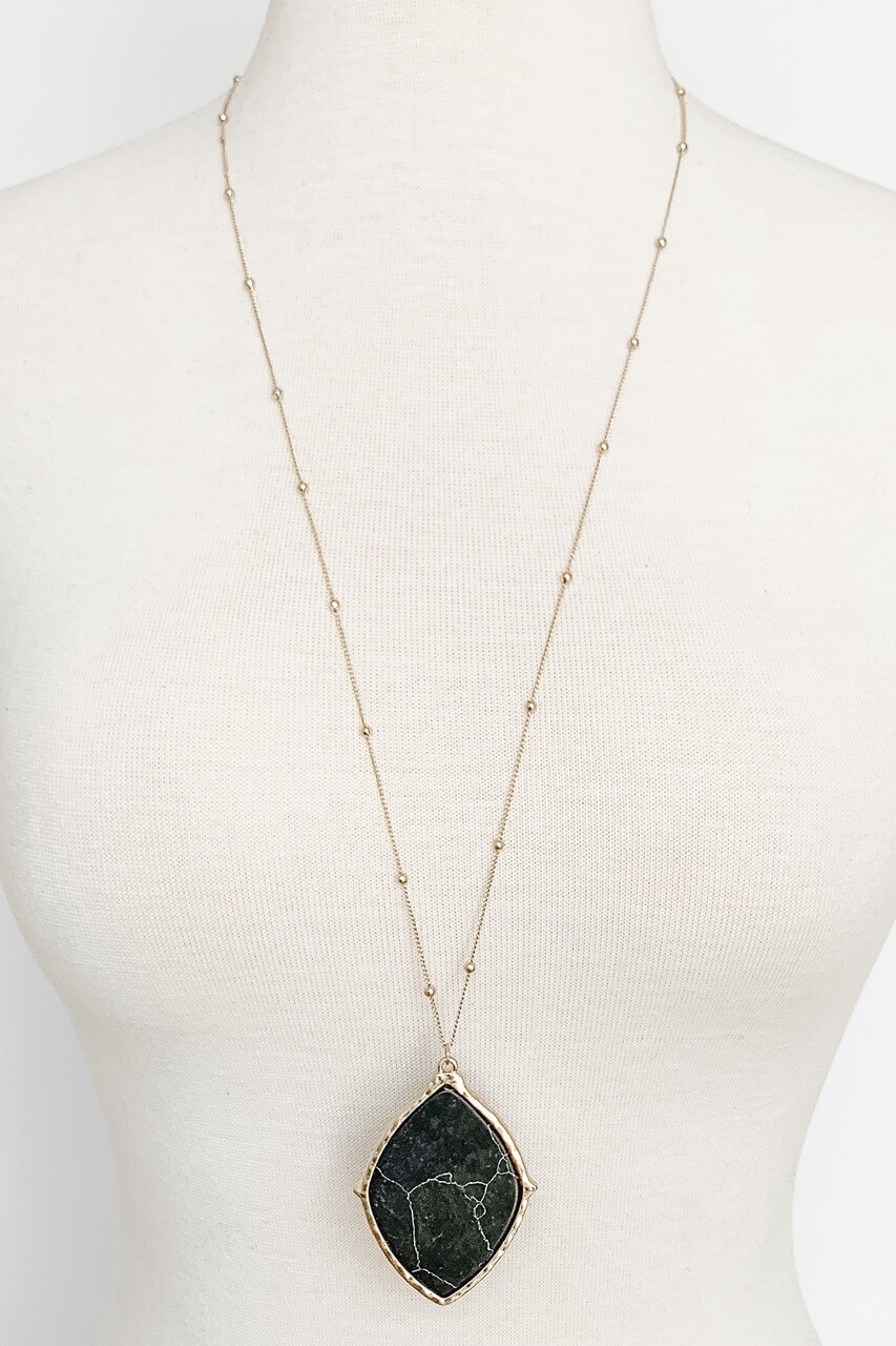 Black Marbled Stone pendant gold necklace, Nickle and lead free.