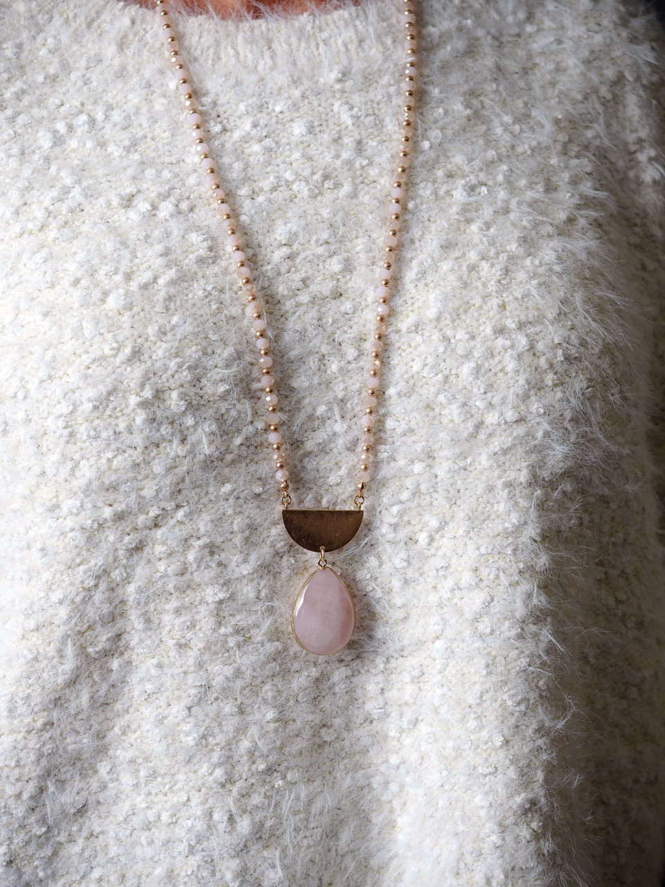 Blush and Gold Beaded Necklace, Gold Half Moon Detail with Blush Stone Pendant, Nickle and lead free.