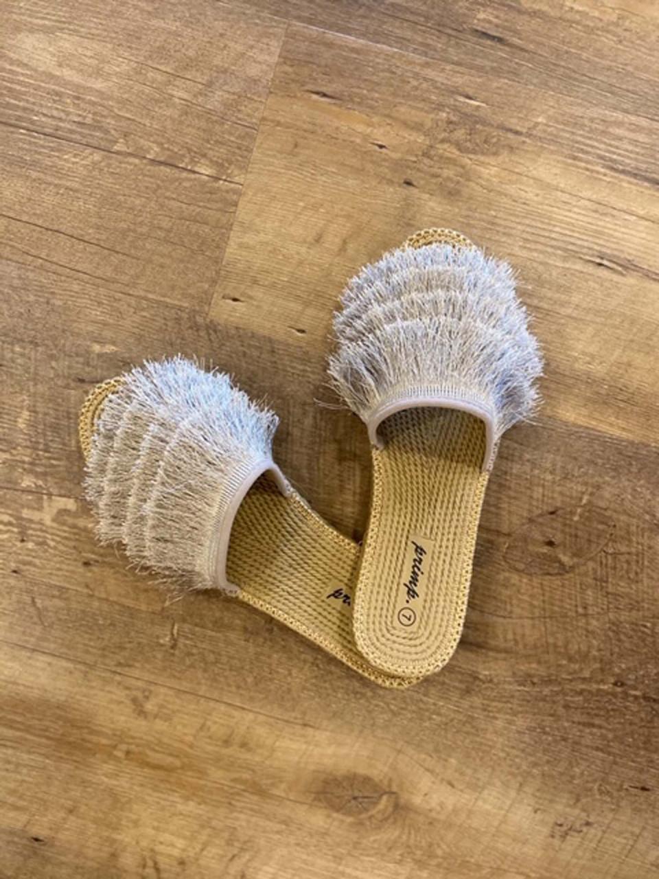 eyelash slip on slide shoe silver