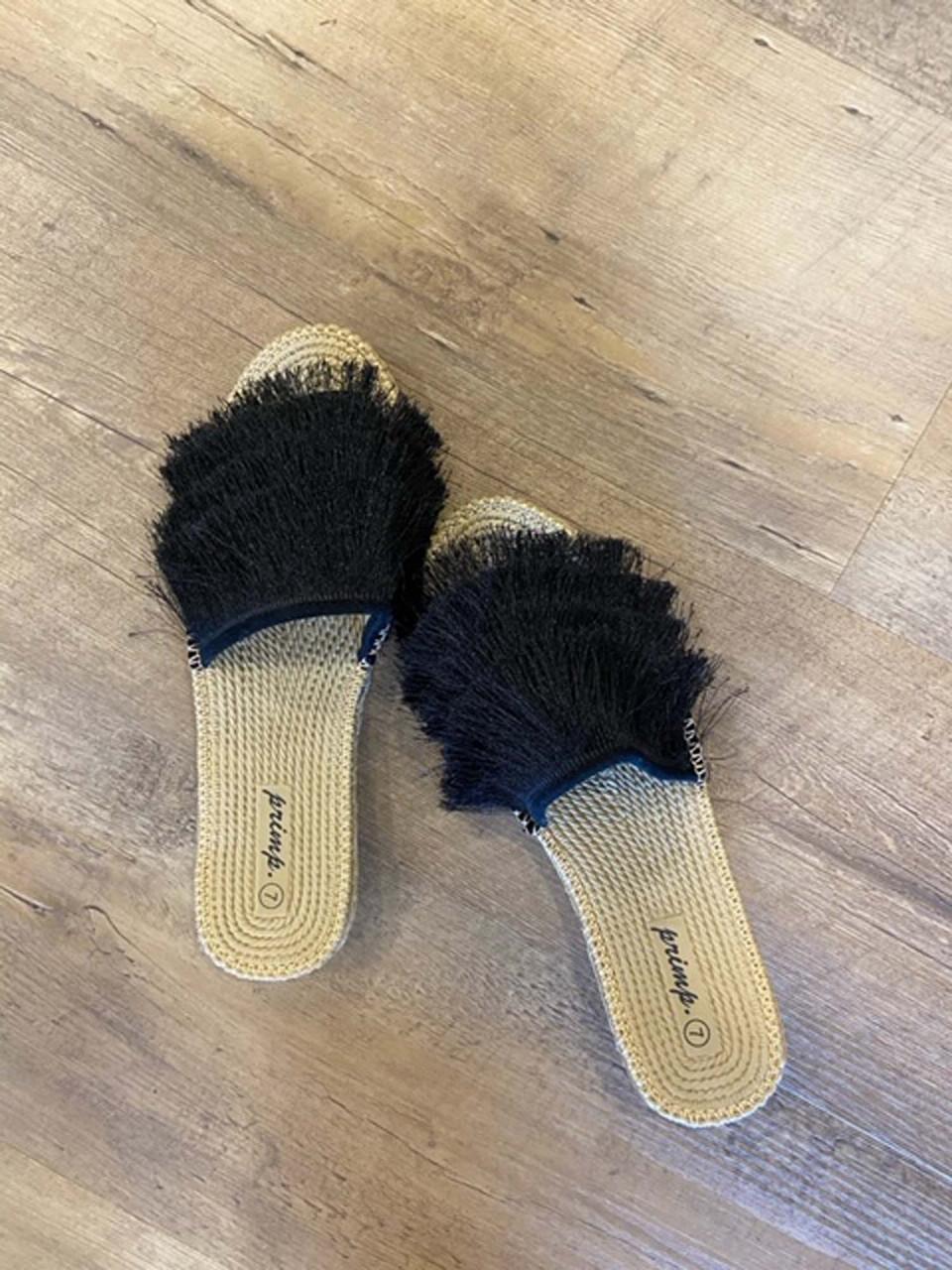 eyelash slip on slide shoe black
