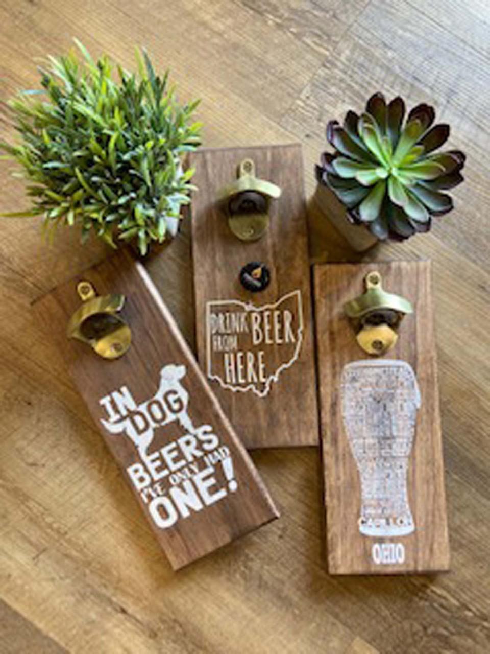wood wall mount bottle opener