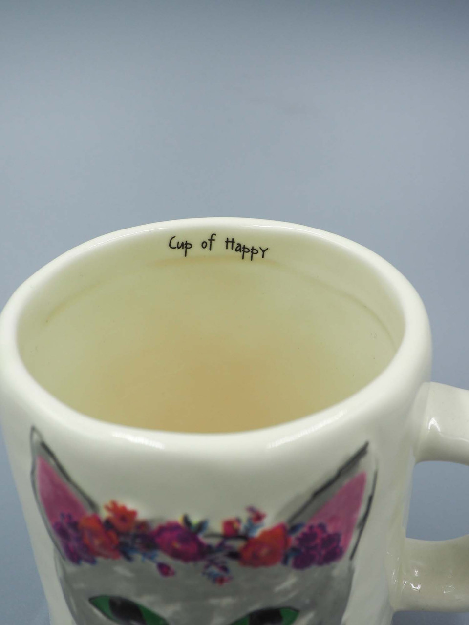 cup of happy cat embossed mug natural life