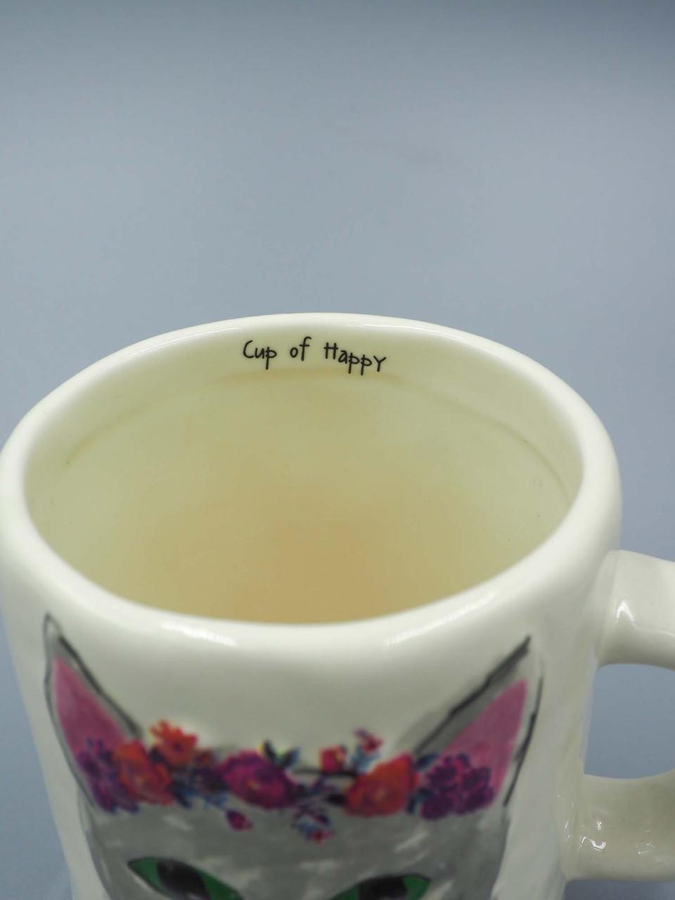 cup of happy cat embossed mug natural life