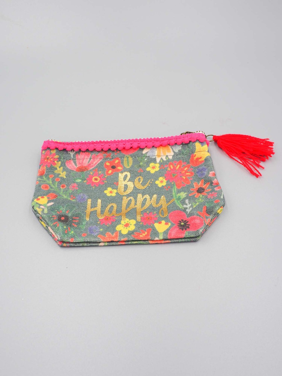 be happy mini canvas pouch natural life