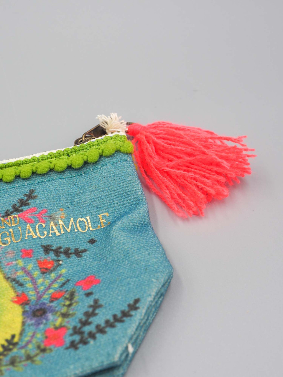 happiness is chips and quacamole mini canvas pouch natural life