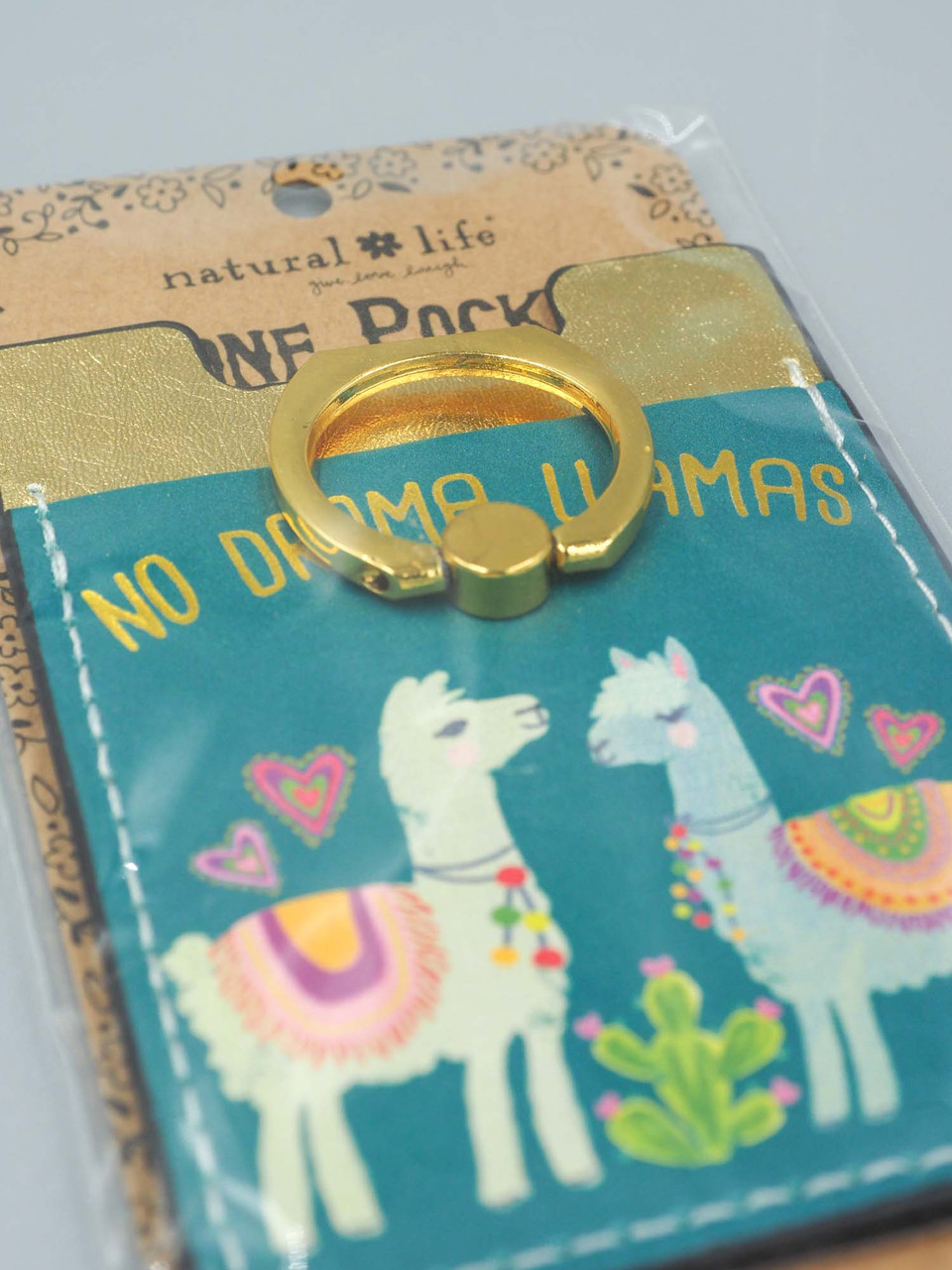no drama llamas phone pocket ring natural life