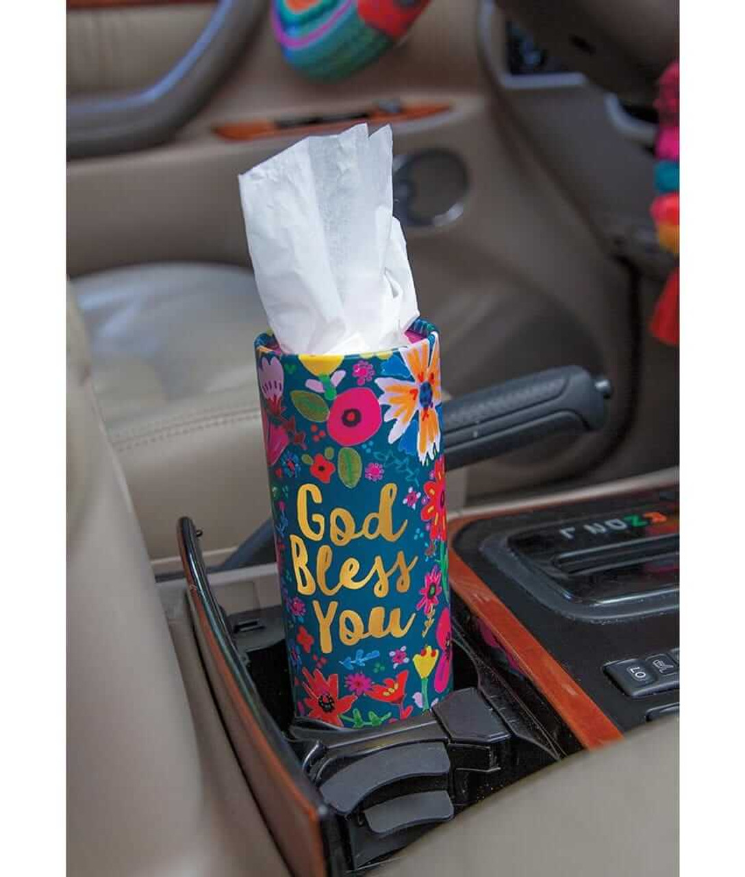 God Bless You Car Tissues in Teal