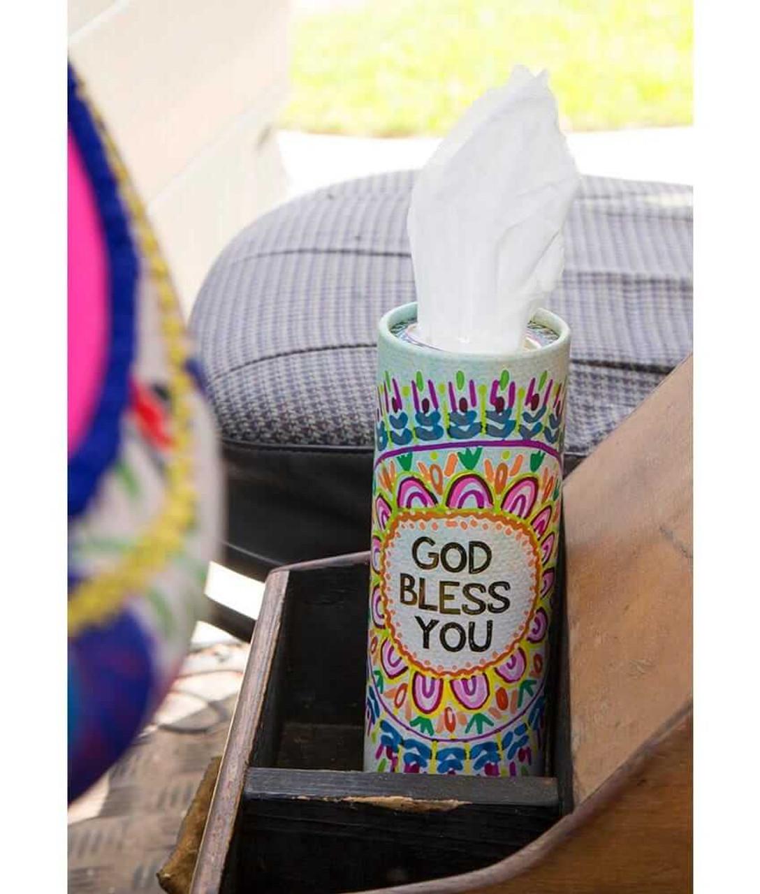 God Bless You Car Tissues in Rainbow Medallion