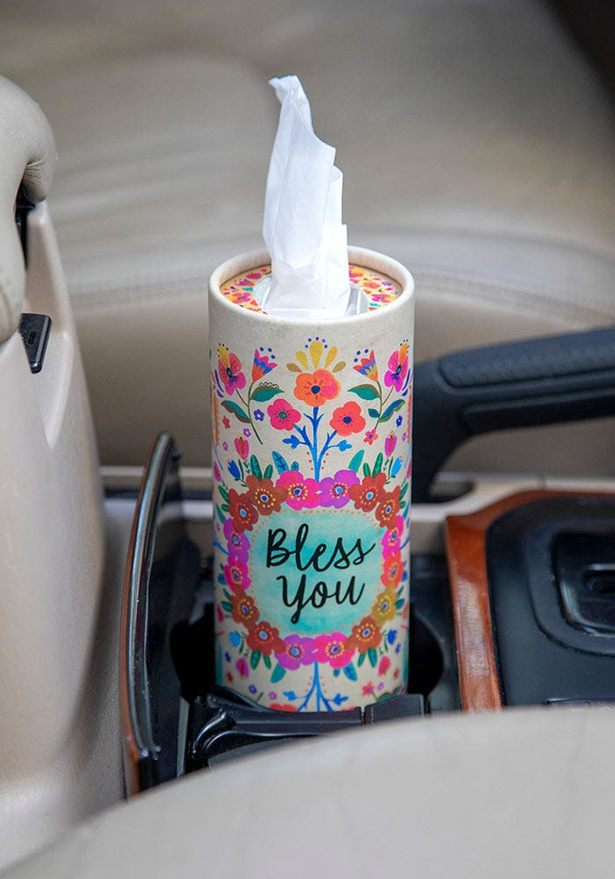 God Bless You Car Tissues in Cream