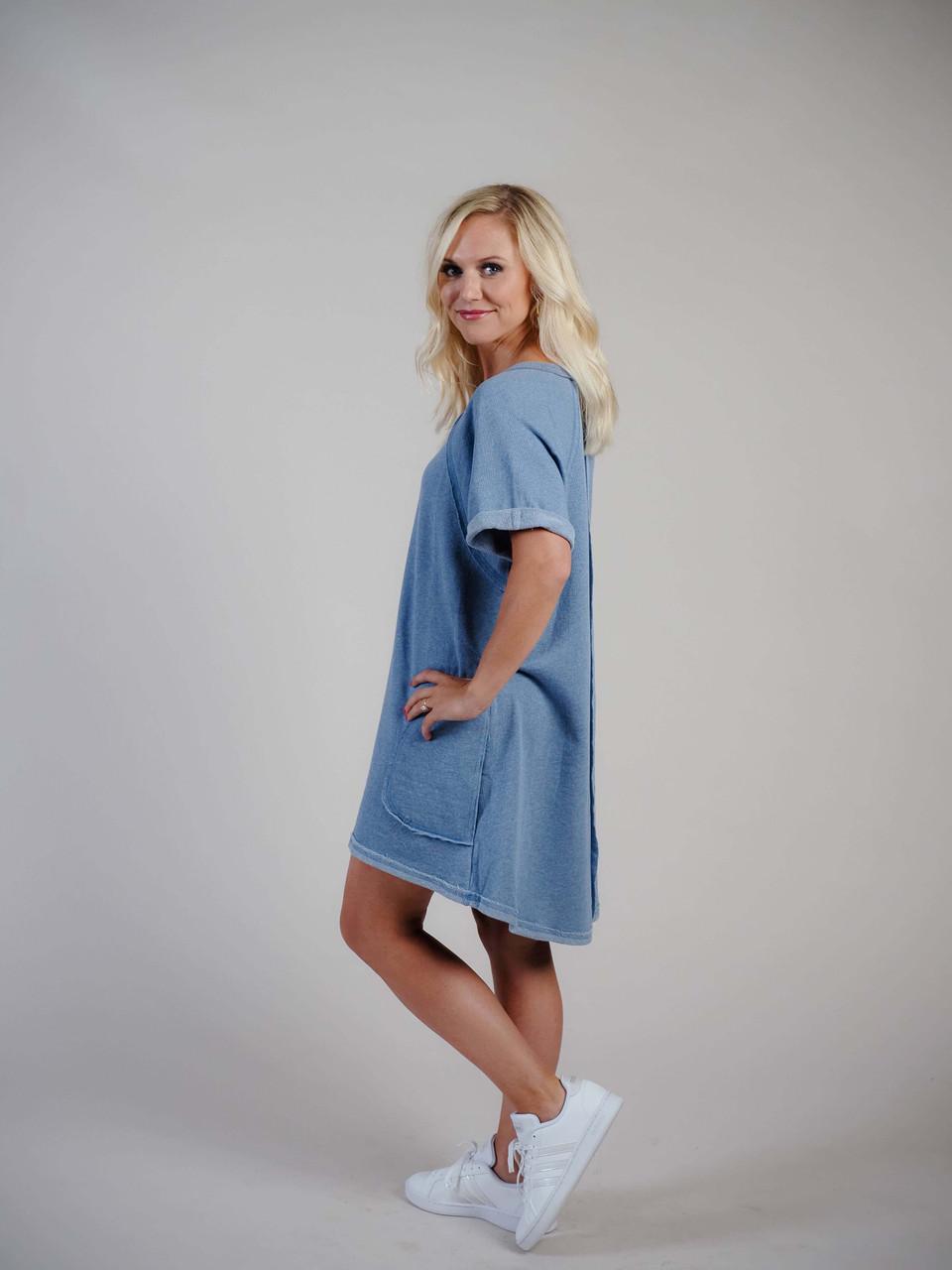 umgee blue sweatshirt dress pockets high low hem
