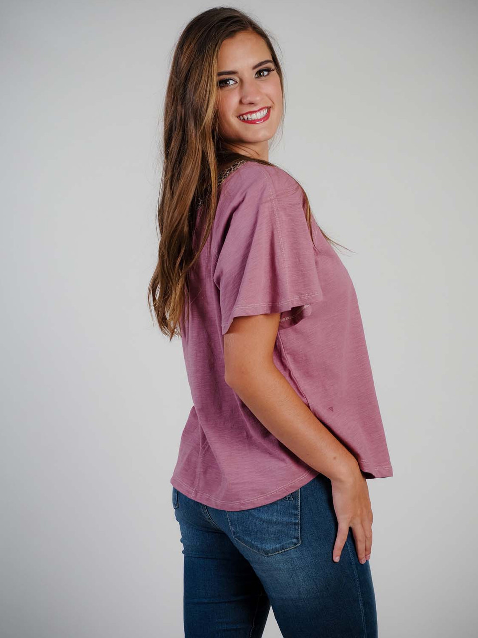 Mauve T-shirt with over sized short sleeves, leopard print detail around the crew neckline