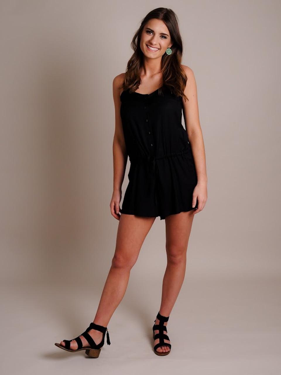 Woman Models Black Cotton Romper