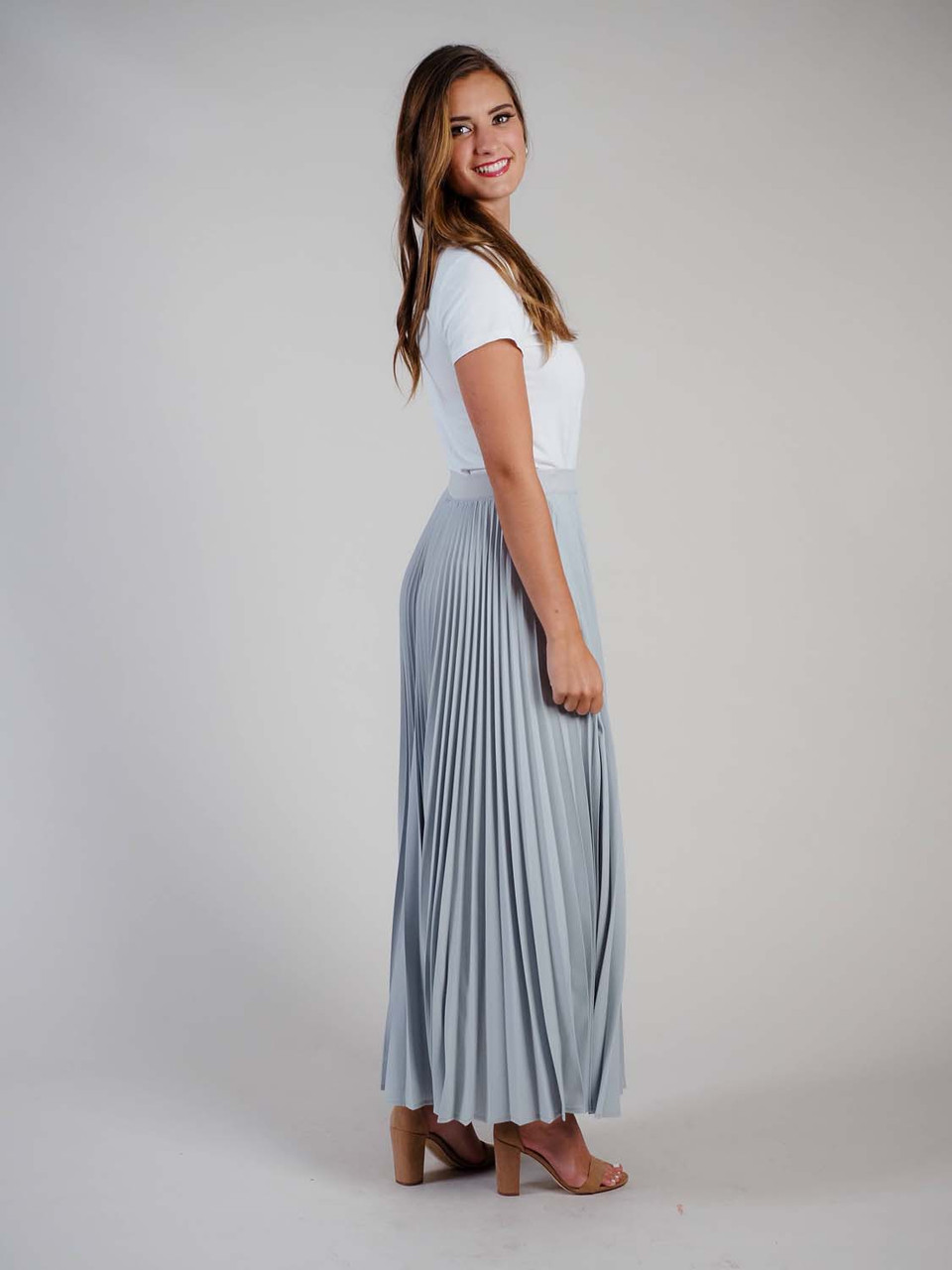 Pleated Skirt in Silver