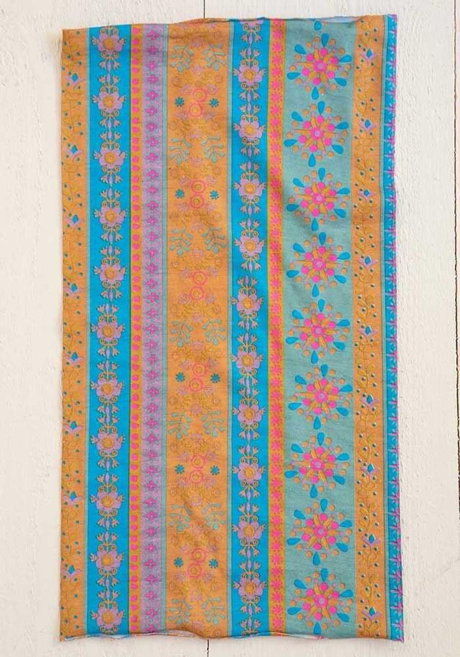 Aqua Floral Stripe  Boho Bandeau