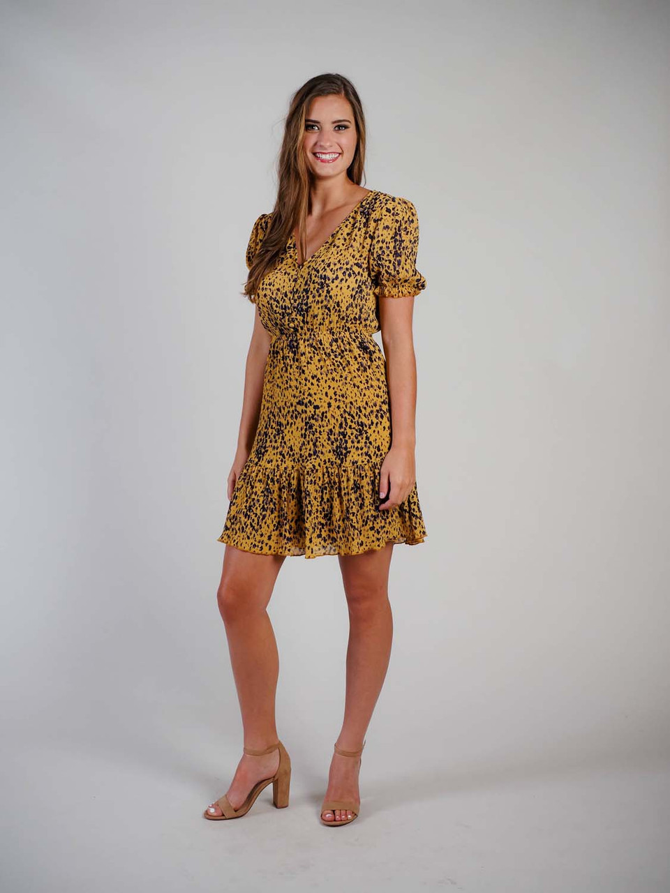 v neck mustard with multi cheetah print ruffle