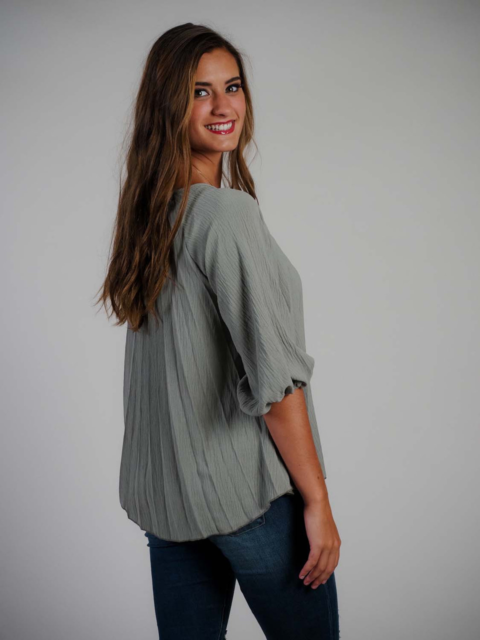 sage green pleated top 3/4 length sleeve