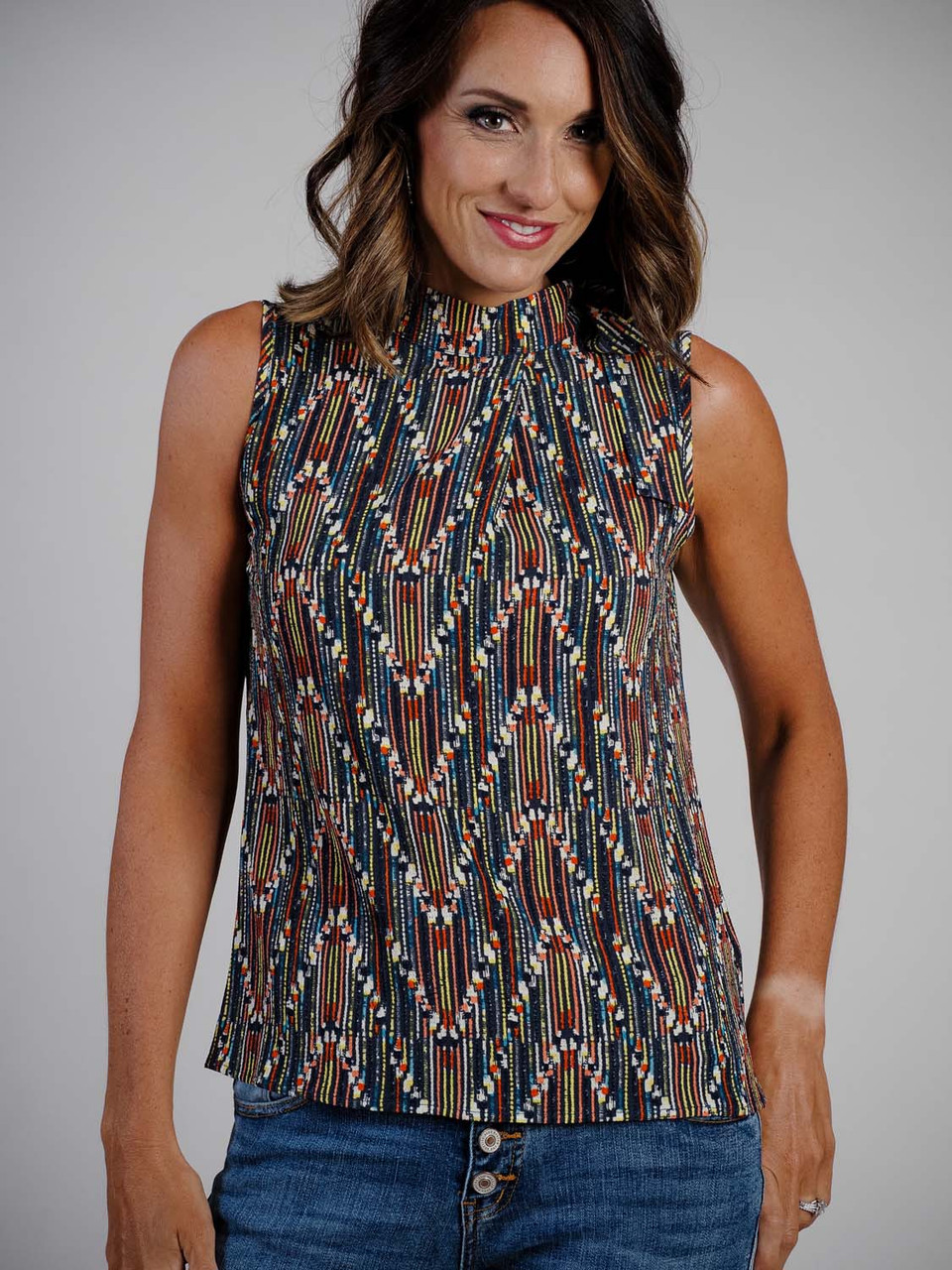 zigzag pattern mock neck blouse with tie sleeveless