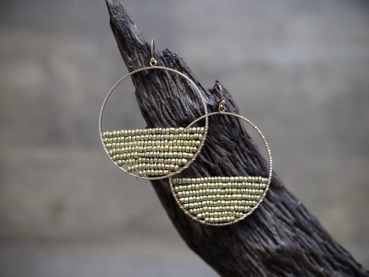Beaded Hoop Earring