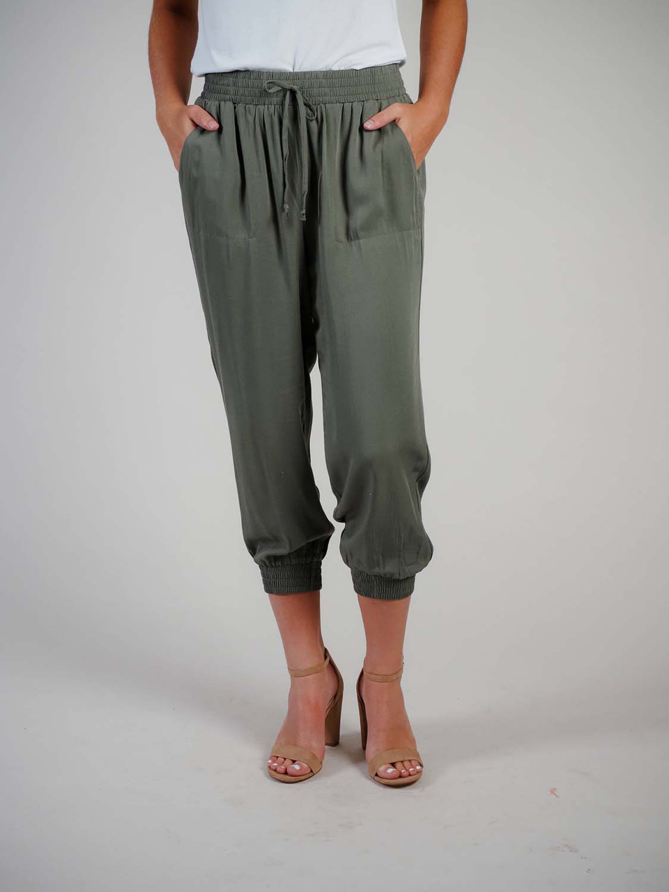 olive jogger pants with pockets