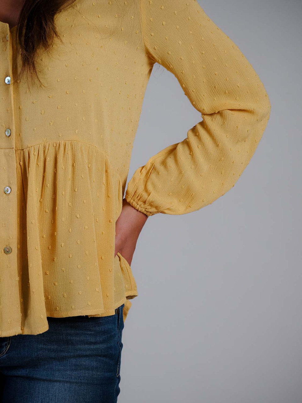 mustard v-neck button down top