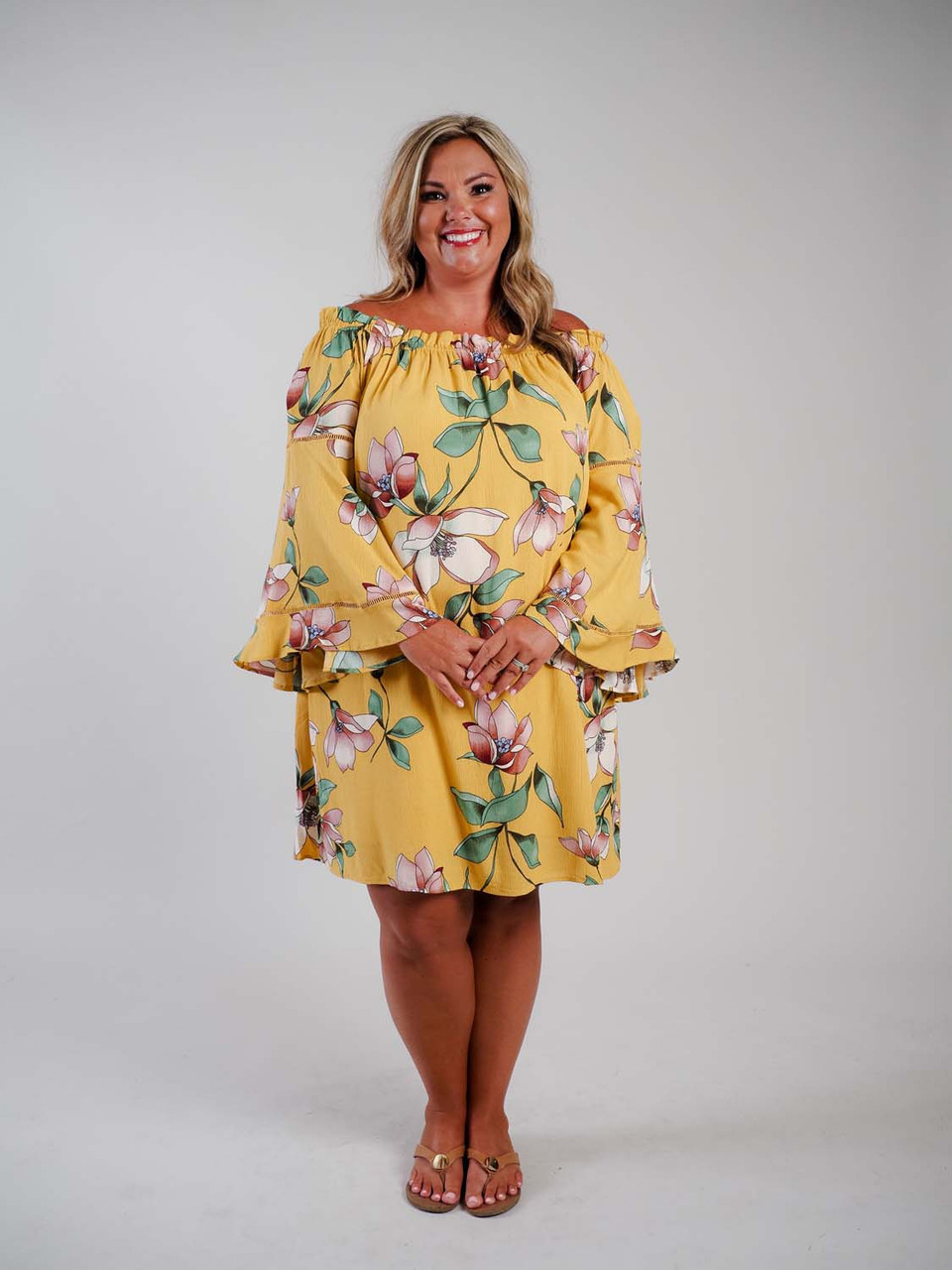 mustard yellow dress with bell sleeve plus clothing curvy