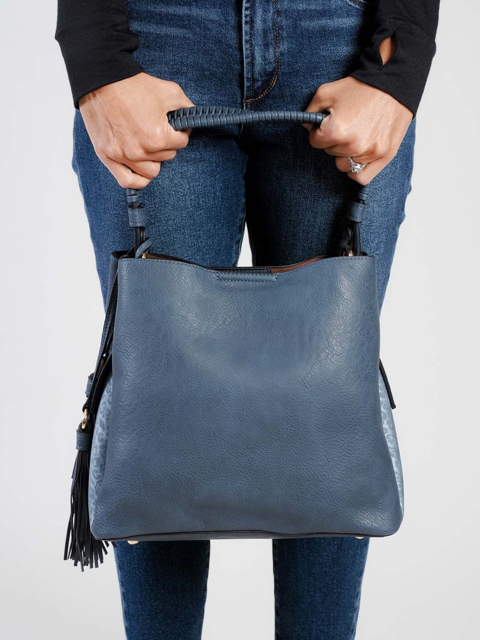 navy with blue cheetah braided handle tote bag