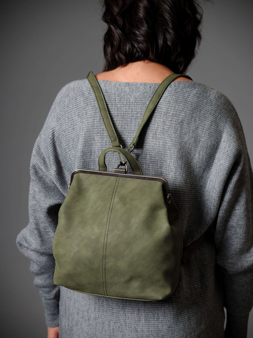 phyllis nubuck framed convertable backpack olive
