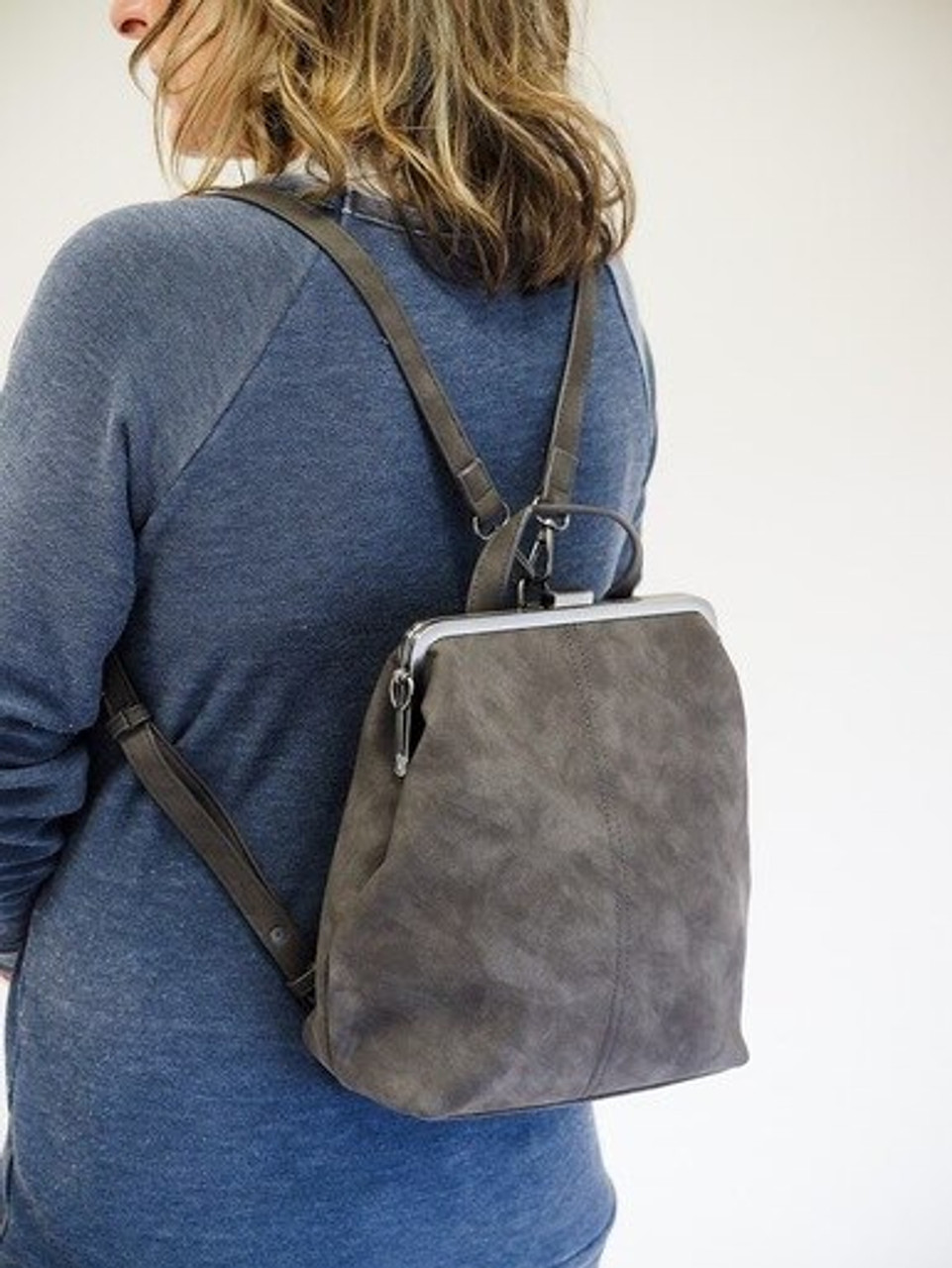 phyllis nubuck framed convertable backpack charcoal