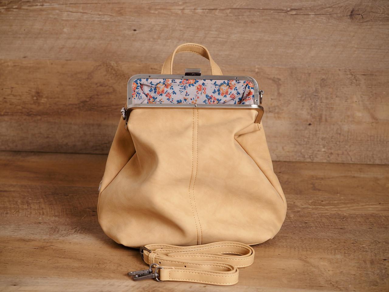 Ivory Phyllis Nubuck Frame Convertible Backpack