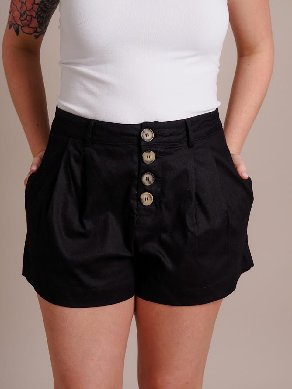 Black Button Down Shorts