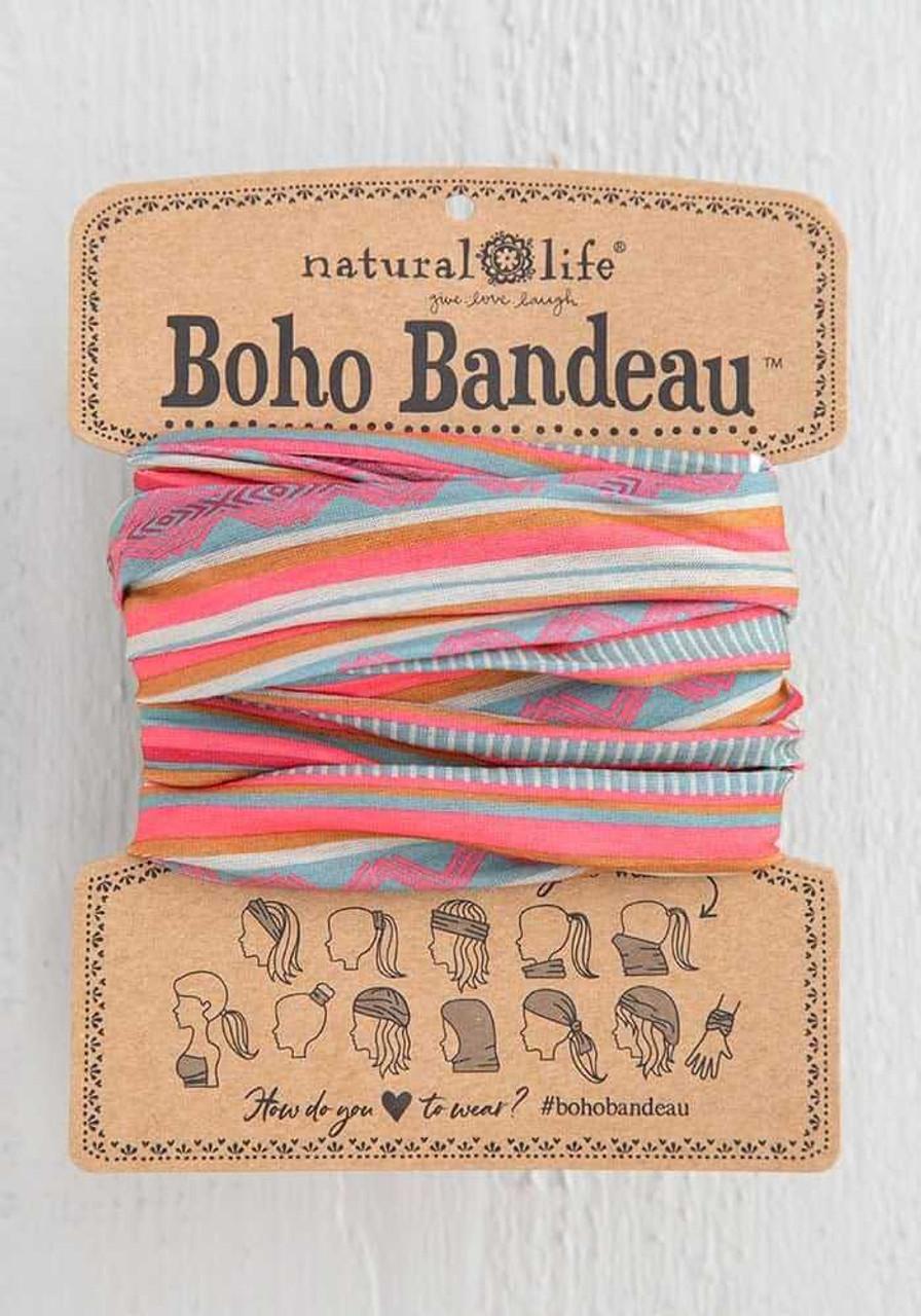Coral Sand Aqua Stripe Boho Bandeau