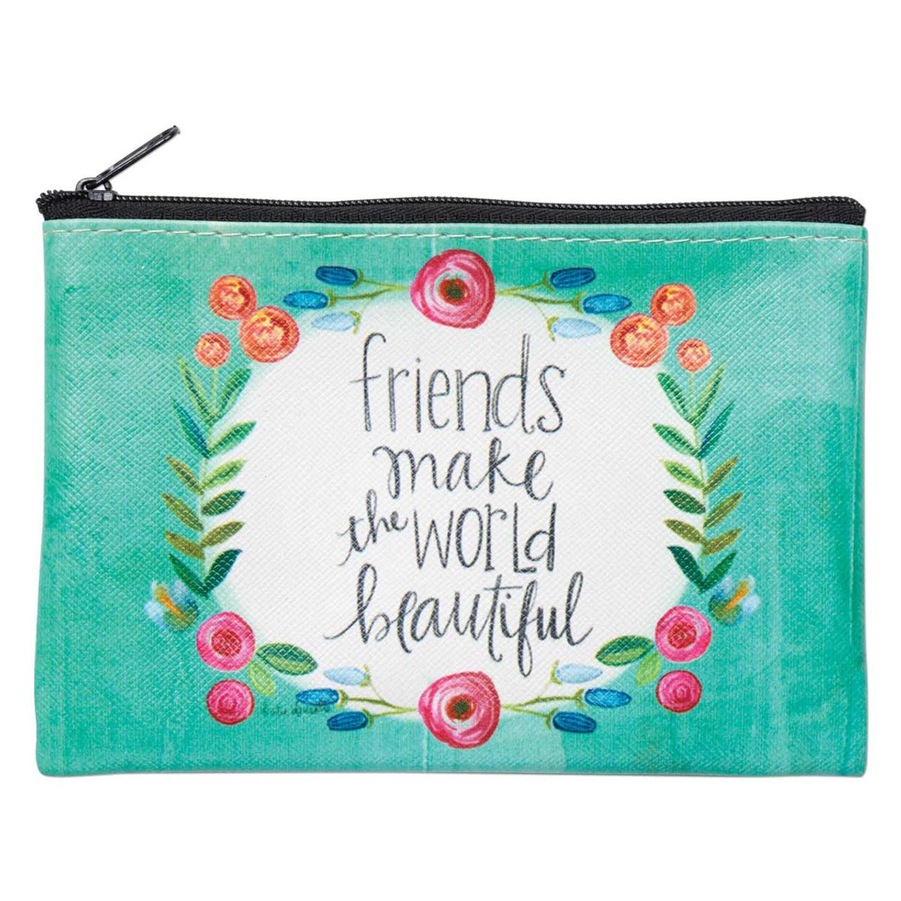 friends make the world beautiful zippered coin purse