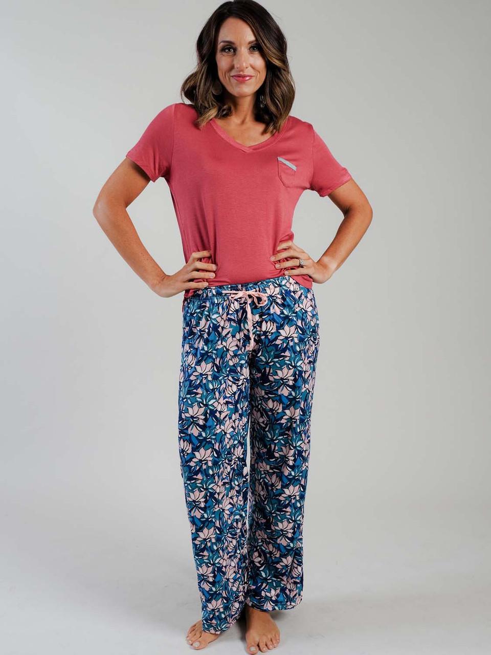 pink green blue floral lounge pant pajama pant