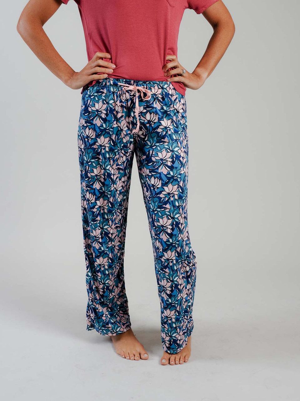 pink green blue floral lounge pant pajama pants
