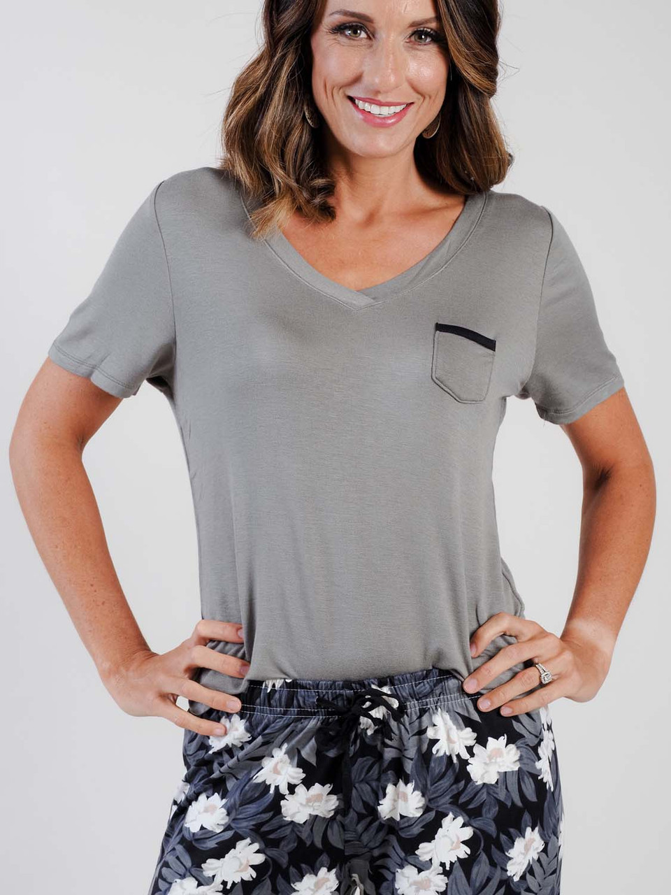 moss green short sleeve lounge shirt with small pocket detail
