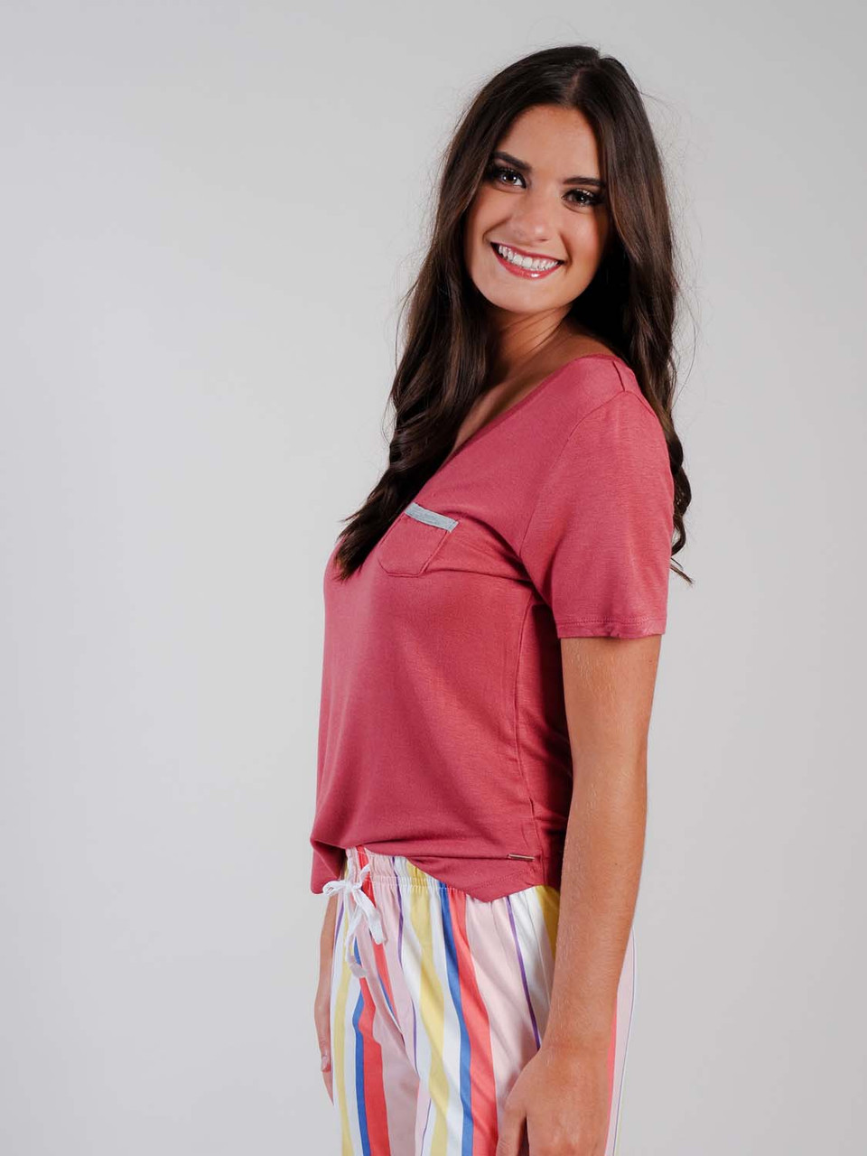 salmon color lounge shirt with small pocket