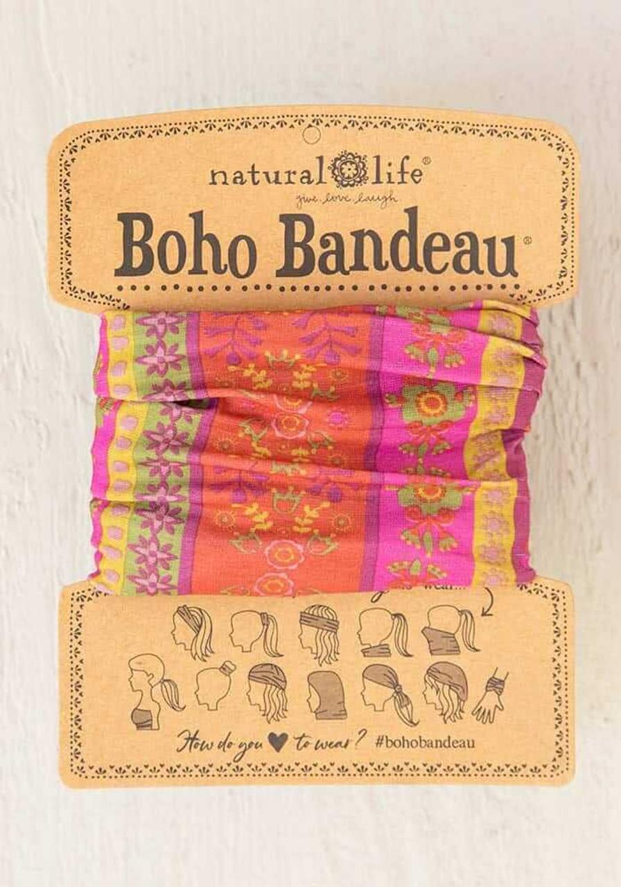 Fuschia Floral Stripes Boho Bandeau