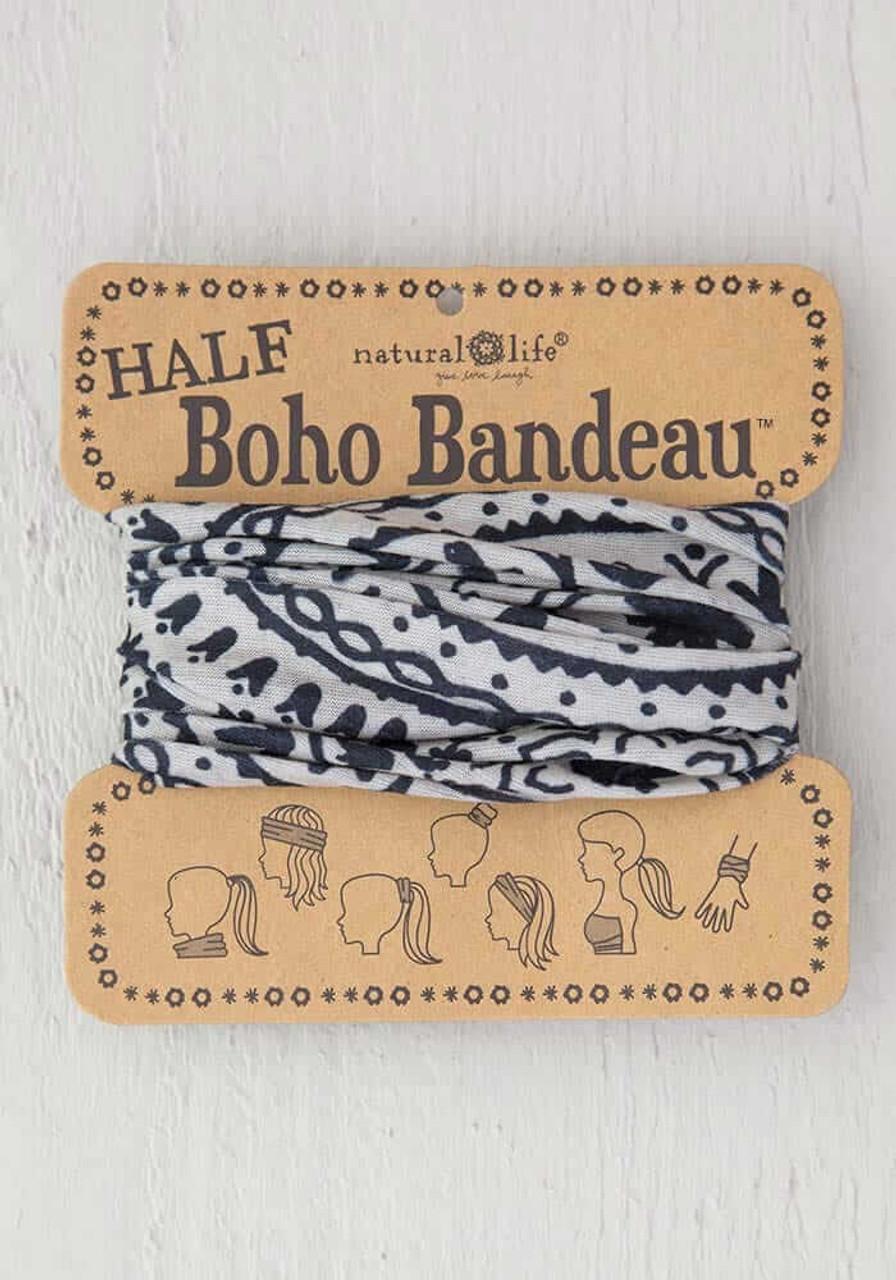 Cream Black Mandala Half Boho Bandeau