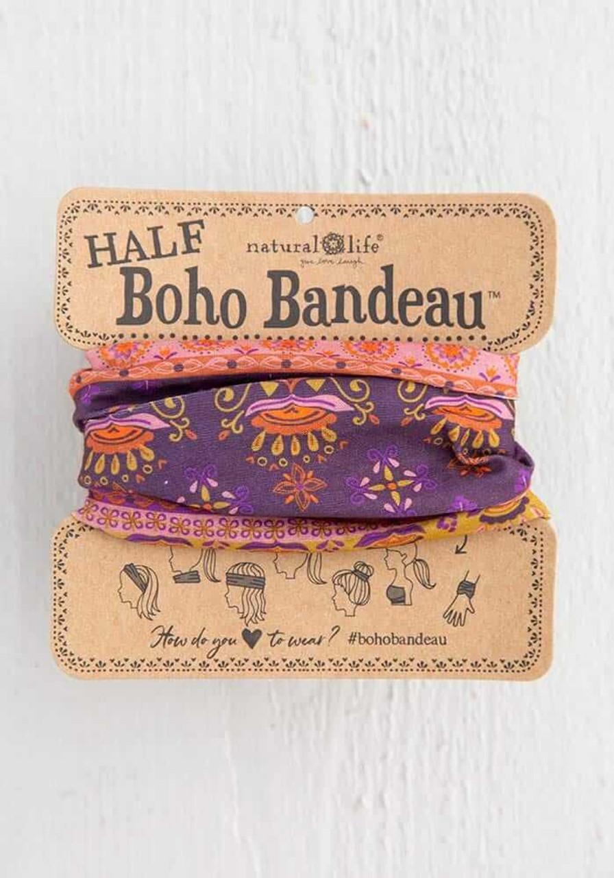 Purple Border Print Half Boho Bandeau