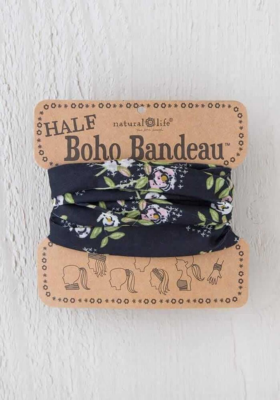 Black Cream Pink Blooms Half Boho Bandeau