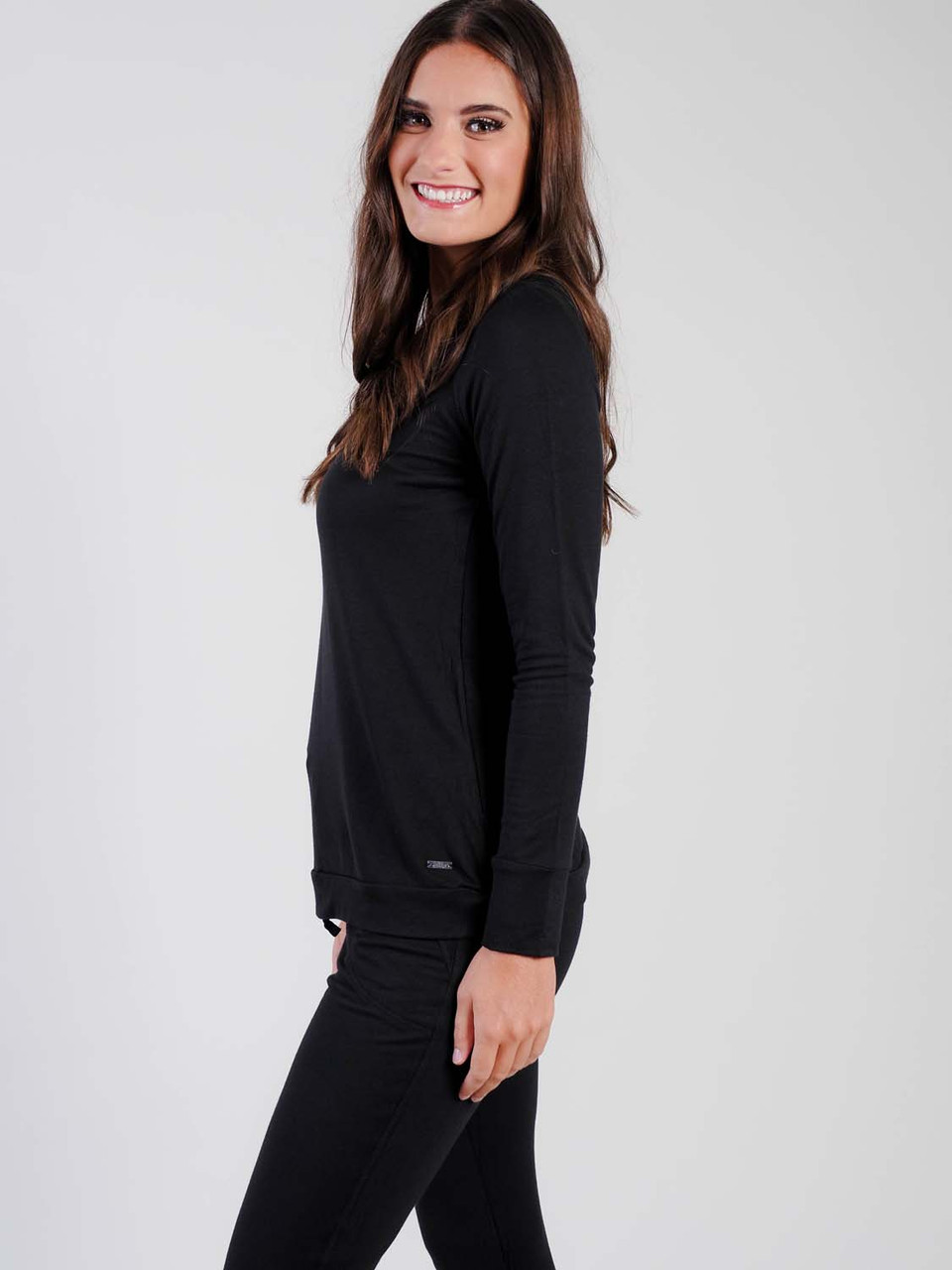black raglan sleeve top loungwear