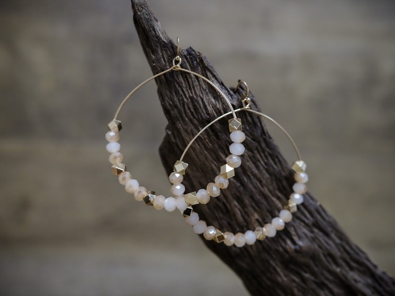 Large Beaded Hoop Earring in Natural