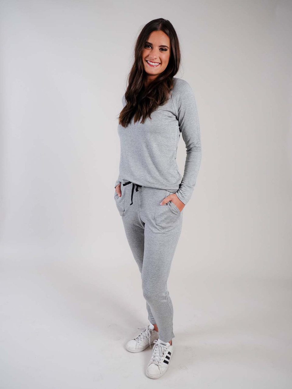 grey lounge pants with drawstring waist
