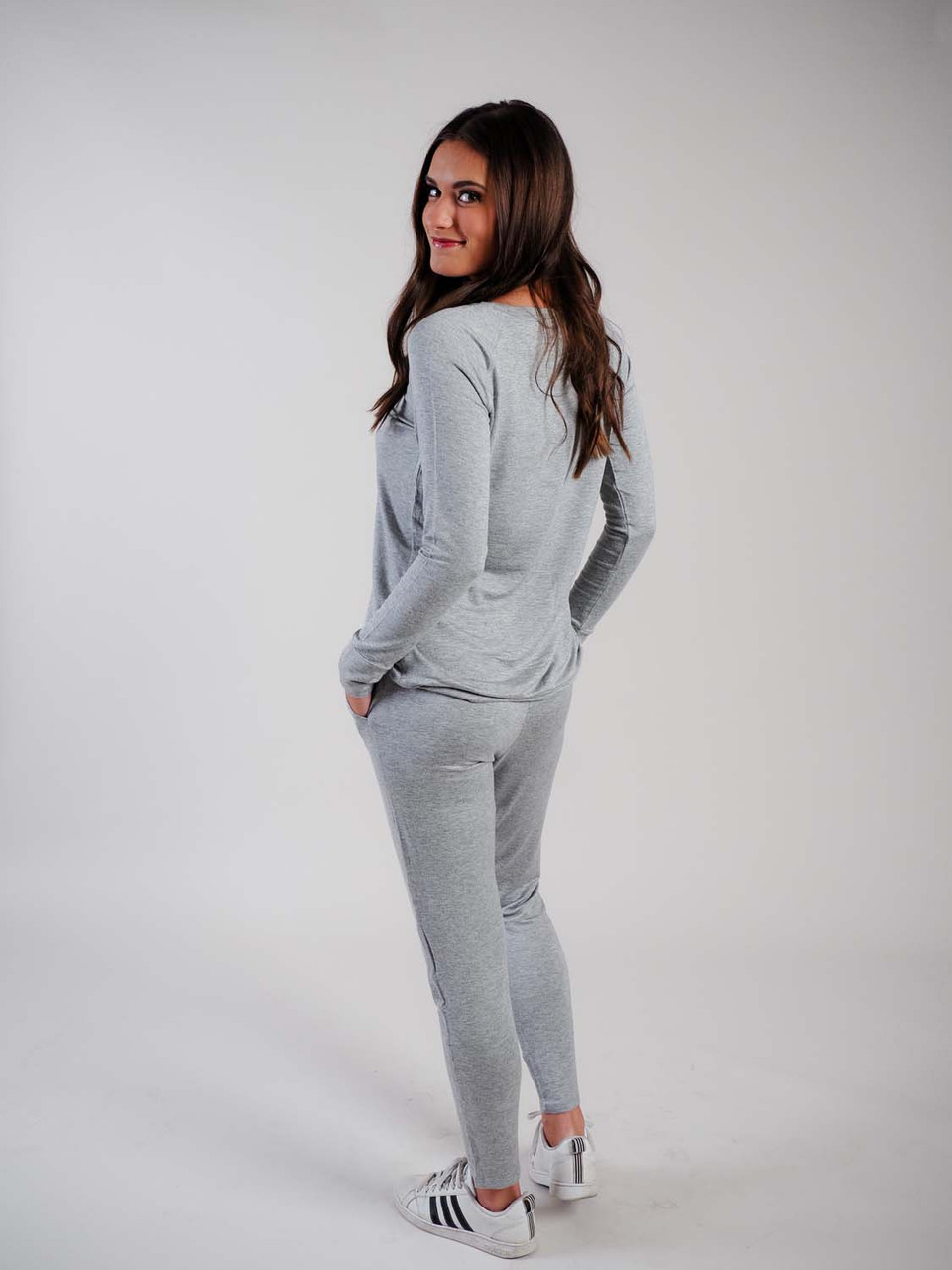 grey lounge pants with drawstring waist