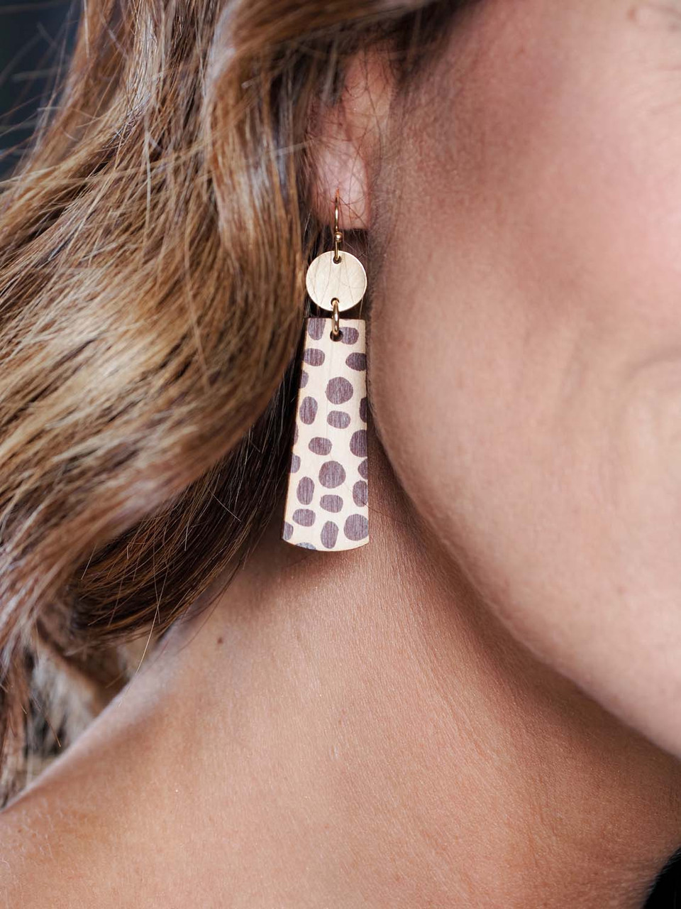 "2"" drop animal print wood earring with gold detail"
